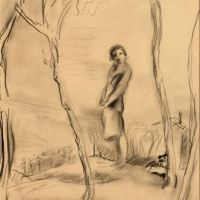 A Woman Under Some trees, pre 1934, Pencil on paper, 26.8 x 20.8 cm, Gotlib Family Collection