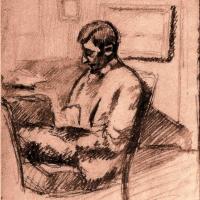 A Man Sitting on a Chair, pre 1934, Pencilon paper, 24.5 x 21.4 cm, Gotlib Family Collection