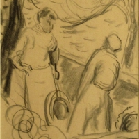 Fishermen & Boats, Concarneau, 1958, Pencil on paper, 25 x 35 cm, Gotlib Family Collection