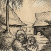 A Woman with a Child in a Farmyard, pre 1934, Charcoal on paper, 17.9 x 19.9 cm, Private collection