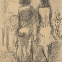 Two Girls, 1962 , Pencil on paper, 33 x 24.1 cm, Private collection