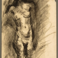 Standing Nude, 1962, Charcoal on paper, 30 x 23 cm, Gotlib Family Collection