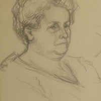 Portrait of a Woman, 1917, Pencil on paper, 20 x 15 cm, Gotlib Family Collection