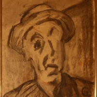 Self Portrait, 1965, Charcoal on brown paper, 56 x 47 cm, Gotlib Family Collection