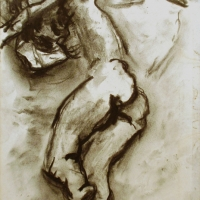 Nude on Sofa, 1964, Charcoal on paper, Gotlib Family Collection