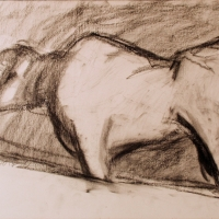 Cornwall, 1965, Charcoal on paper, 25 x 35 cm, Gotlib Family Collection