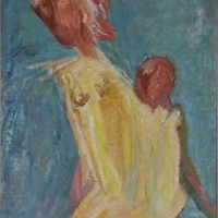 Girl with Child, 1963, Oil on canvas, 46 x 35.5 cm, Gotlib Family Collection
