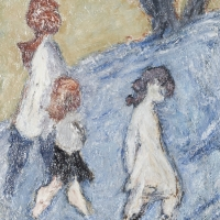 Three Children, 1963, Oil on hardboard, 46 x 36 cm, The Simonow Collection