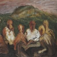 Men in a Café, Italy, 1962, Oil on canvas, 51 x 76 cm, The Simonow Collection