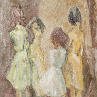 Four Girls in Lucca, 1963, Oil on canvas, 46 x 36 cm, The Simonow Collection