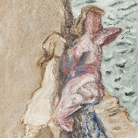 Two Girls Sitting on Sea Wall, 1963, 46 x 41 cm, The Simonow Collection