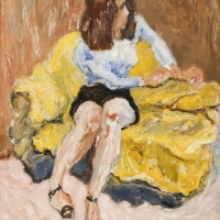Girl Sitting on Sofa, 1966, Oil on canvas, 76 x 63 cm, The Simonow Collection