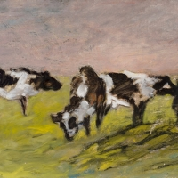 Black and White Cows, 1955, Oil on canvas, 46 x 66 cm, Private collection