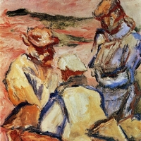 Fishermen in Portugal, 1966, Oil on canvas, 48 x 41 cm, Private collection