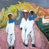 Sailors in La Spezia, 1963, Oil on canvas, 61 x 51 cm, Private collection