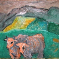 Oxen near Sienna, 1964, Oil on canvas, 64 x 76 cm, Gotlib Family Collection