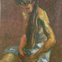 Sitting Girl with Long Hair, 1958, Oil on canvas, 102 x 76 cm, Private collection