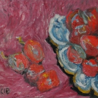 Plums on a Blue and White Dish, 1966, Oil on canvas, 41 x 51 cm, Gotlib Family Collection