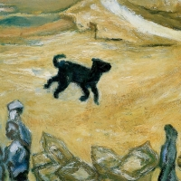 Dog on the beach - Portugal, 1966, Oil on canvas, 41 x 51 cm, Gotlib Family Collection