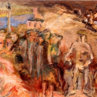 Sketch for - Warsaw, September 1939, 1940, Oil on hardboard, 38 x 43 cm, Private collection