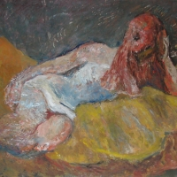 Clare on Yellow Sofa, 1966, Oil on canvas, 102 x 114 cm, Private collection
