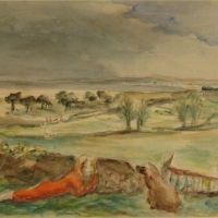 Landscape with a Woman and a Dog, pre 1934, Watercolour, 27.7 x 33.9 cm, Gotlib Family Collection