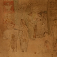A Wartime Gathering, pre 1934, Watercolour & pencil, 35 x 51.7 cm, Gotlib Family Collection