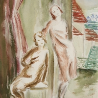 Two Women by a Window, pre 1934, Watercolour & pencil, 34 x 24.9 cm, Private collection