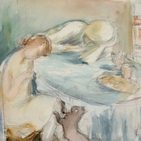 Two People Sitting at a Table and a Cat, pre 1934, Watercolour & pencil, 25 x 34 cm, Private collection