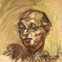 Portrait of a Man, 1957, Oil, crayon & charcoal on paper, 58 x 51 cm, Gotlib Family Collection