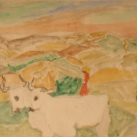 Landscape with Two White Oxen in Foreground, Sienna, 1964, Watercolour on paper, 38 x 51 cm, Gotlib Family Collection