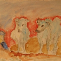 Two Oxen and Man in Yellow Hat, Stooping, 1964, Watercolour on paper, 35 x 56 cm, Gotlib Family Collection