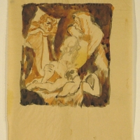 A Group of People, pre 1932, Watercolour, pen & indian ink, 11 x 9 cm, Gotlib Family Collection