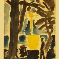 Scene in a Park, pre 1932, Watercolour on paper, 37 x 27 cm, Gotlib Family Collection