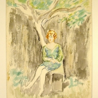 Woman Sitting under a Tree, pre 1932, Watercolour on paper, 34 x 25 cm, Gotlib Family Collection