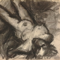 Reclining Female Nude, 1965, Charcoal on paper, 40.7 x 50.5 cm, The British Museum