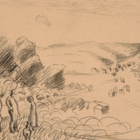 Landscape with Two People Under a Tree, pre 1934, Pencil on paper, 17 x 30 cm, Private collection