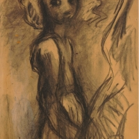 Lucinda, 1959, Charcoal & white chalk on cardboard, 56 x 39.3 cm, The British Museum