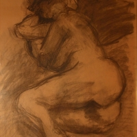 Nude Lying on Her Side, 1950s, Charcoal on paper, 81 x 55 cm, Gotlib Family Collection