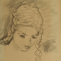 Brigette, 1952, Charcoal on paper, 43 x 34 cm, Gotlib Family Collection