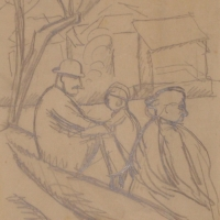 Three People Under a Tree, pre 1934, Pencil on paper, 16 x 14 cm, Gotlib Family Collection