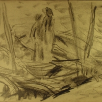 Concarneau, 1958, Charcoal on paper, 27 x 36 cm, Gotlib Family Collection