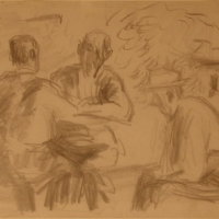 Three Men In a Café, Val di Castello, 1960, Pencil on paper, 56 x 37 cm, Gotlib Family Collection