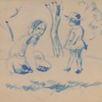Woman with Child under Trees, pre 1934, Pen on paper, 17 x 19 cm, Gotlib Family Collection