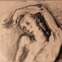 Head and bust of female nude, left arm resting on head, 1956, Charcoal on paper, 58 x 75 cm, Gotlib Family Collection