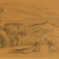 A woman with a dog in a landscape, pre 1934, Pencil on paper, 12.5 x 20 cm, Gotlib Family Collection