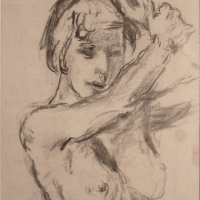 Girl with arms raised, Undated, Charcoal on paper, 53 x 40 cm, Gotlib Family Collection