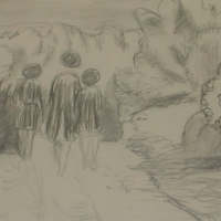 Three women walking along a road, pre 1934, 14.5 x 17 cm, Gotlib Family Collection