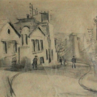 A Street in a Small Town, pre 1934, Pencil on paper, 16 x 20 cm, Gotlib Family Collection