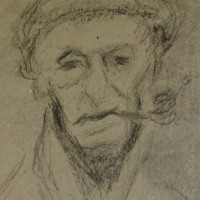 Self Portrait with Pipe, 1950-52, Graphite on card, 22.5 x 16 cm, Gotlib Family Collection